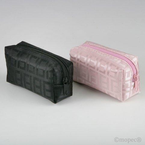 Rosa / schwarze Reißverschlusstasche 5,5x10x4
