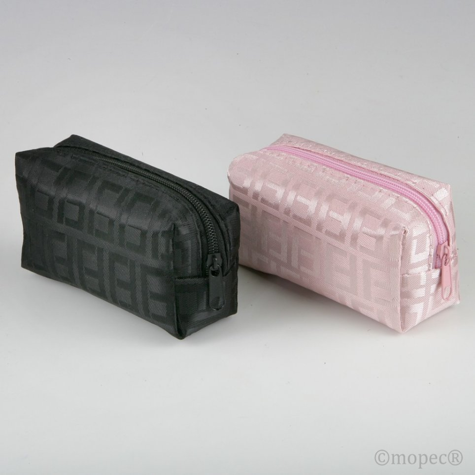 Pink/black zipper bag 5.5x10x4