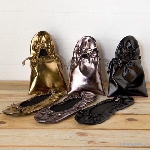 Manoletinas oro/plata/negra boda