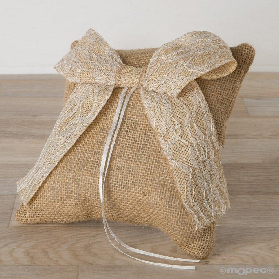 Fedi nuziali rustiche cuscino e fiocco in pizzo 20x20