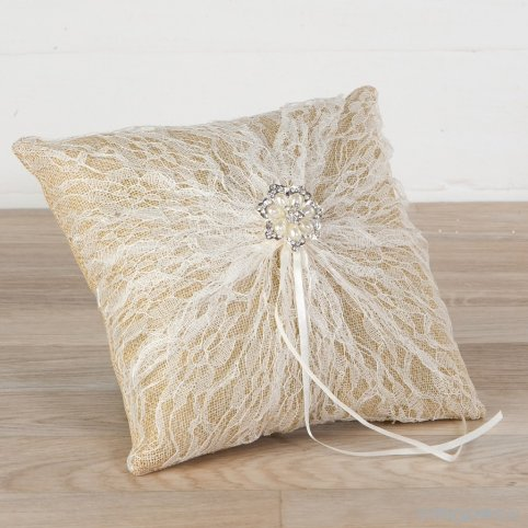 Cushion burlap wedding ringes with 20x20 pearl brooch blonde
