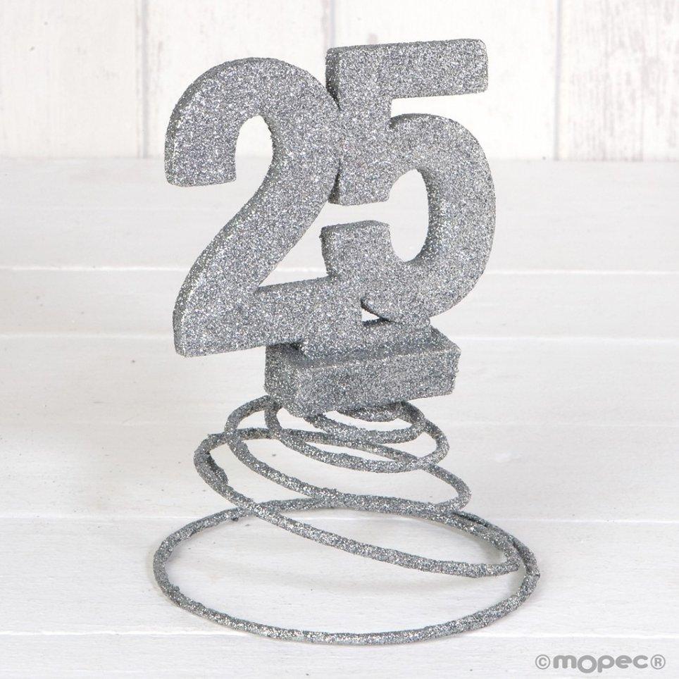 Decoracion 25 Aniversario De Boda Purpurina Plateada Con Muelle