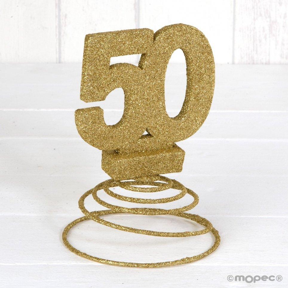 Decoración 50 aniversario purpurina dorada con muelle