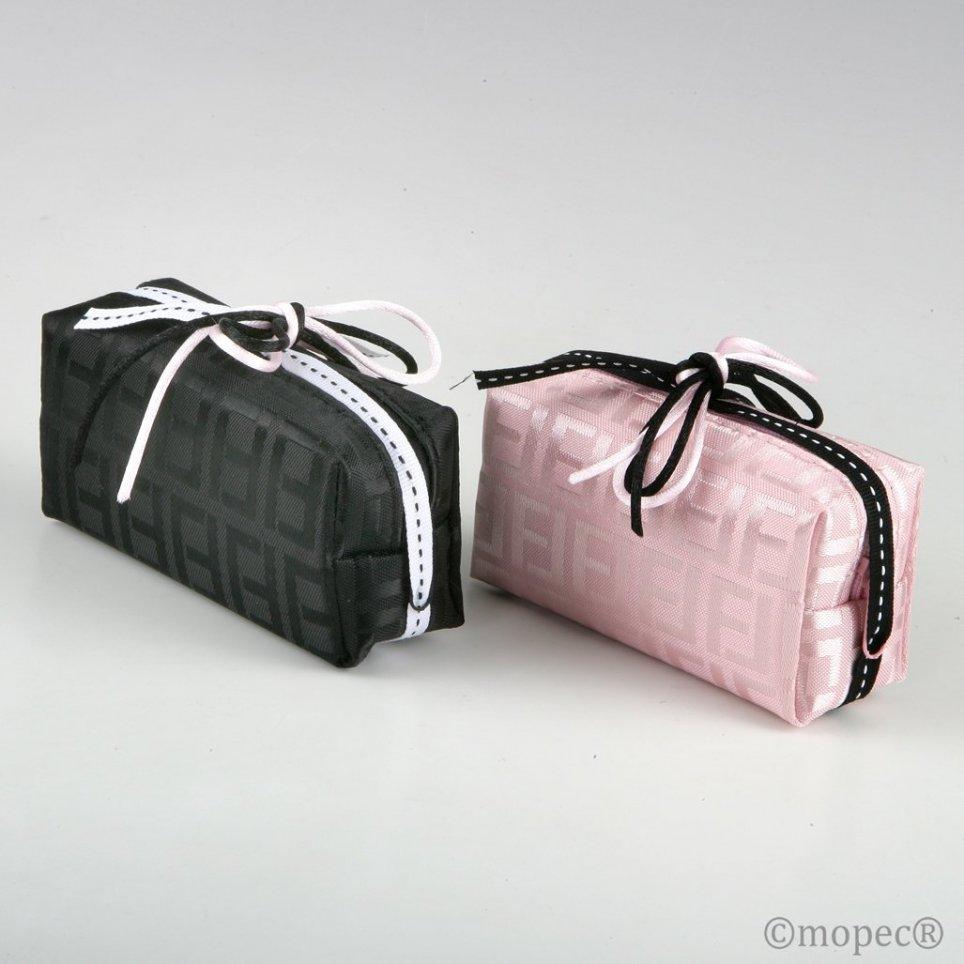 Pochette con cerniera rosa o nera decorata