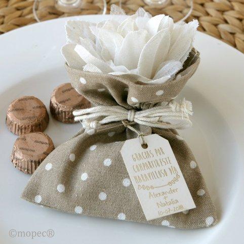 Borsa marrone 3 cioccolatini fiore avorio