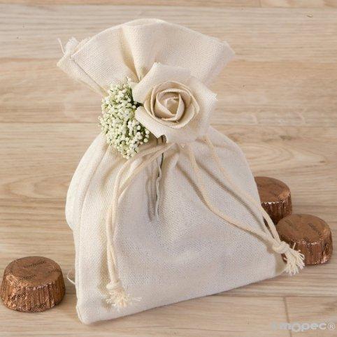 Baumwolltasche mit Blumenstrauß und 4 Pralinen