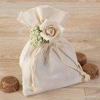 Bolsa algodón con bouquet floral y 4 bombones