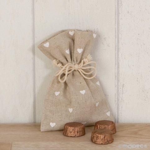 Beige bag white hearts 3 chocolates