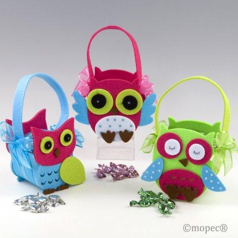 Owl felt basket 15 minifruits 3 assortment