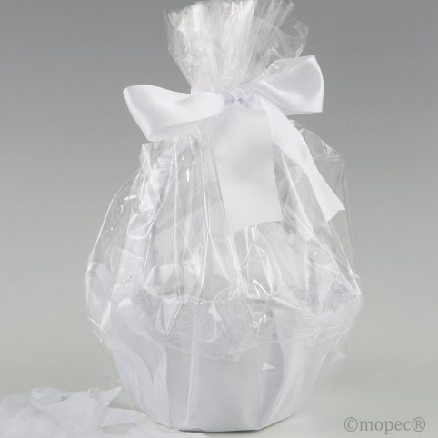 White tul basket adorned 288 white petals
