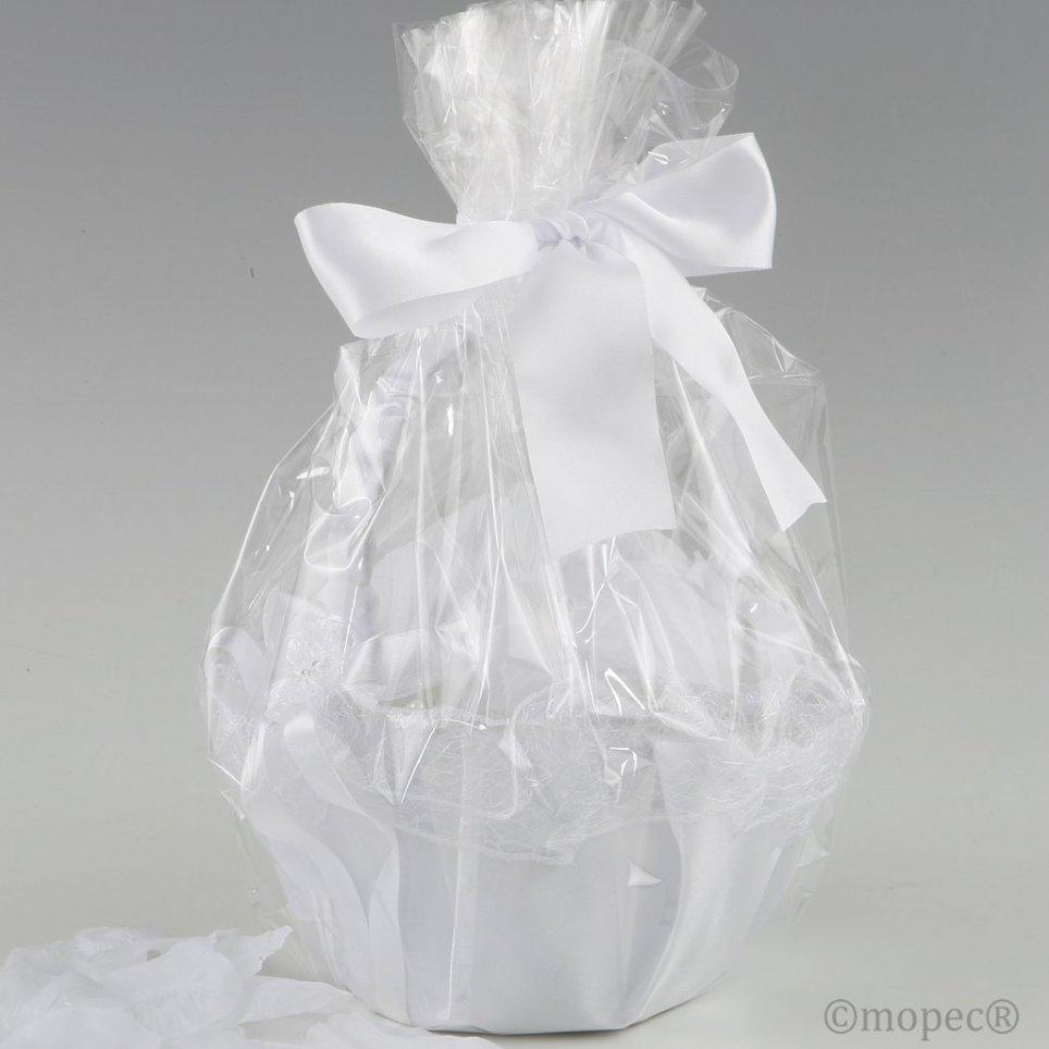 Cesto in tulle bianco adornato da 288 petali bianchi