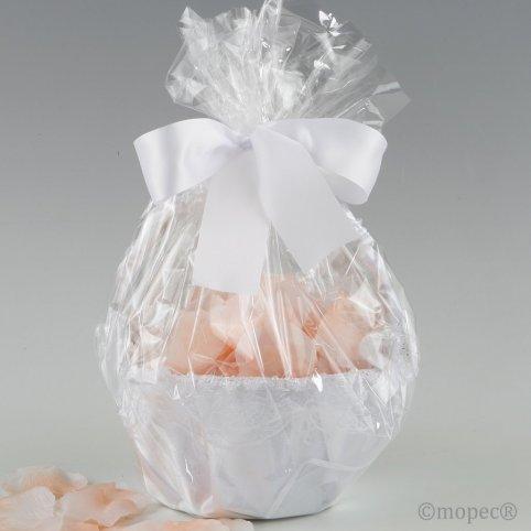 Cestino in tulle bianco decorato con 288 petali rosa