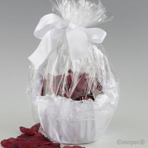 Cestino in tulle bianco decorato con 288 petali di granato