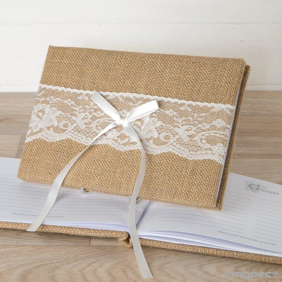 Signaturbuch aus Jute und Spitze 74 Seiten und Schachtel