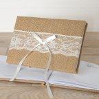 Libro firmas yute y puntilla 25x16cm. 74 páginas y caja