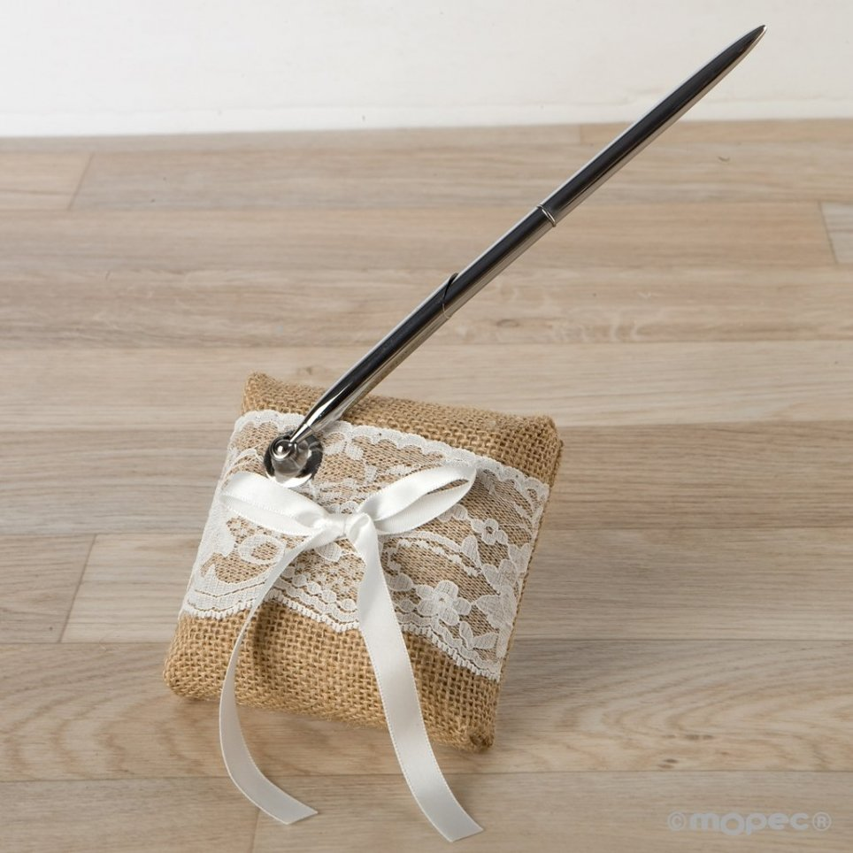 Pen signatures toe and jute in gift box