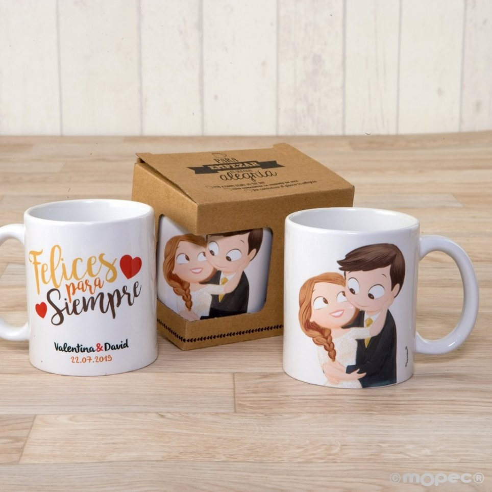 Taza cerámica novios Pop&Fun con caja regalo