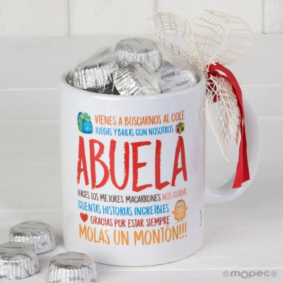 Taza cerámica Abuela en caja regalo 6 bombones