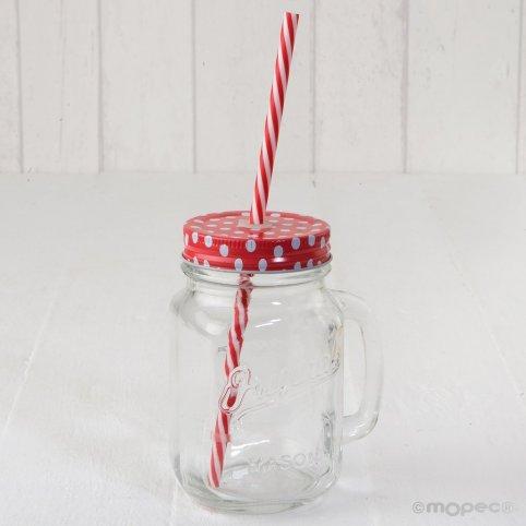 Glas mit Griff rote Kappe Tupfen und Zuckerrohr