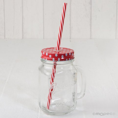 Glass jar with handle red top moles and cane