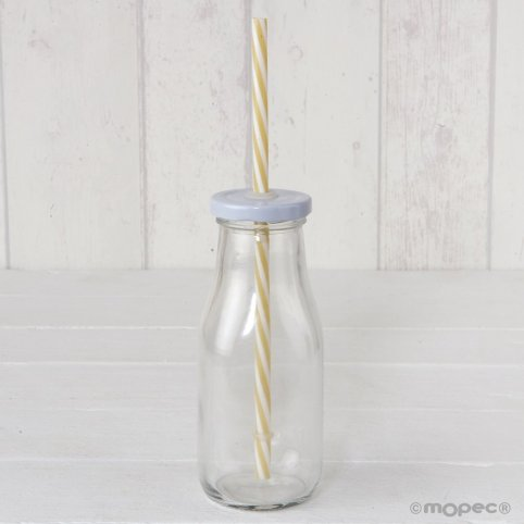 White cap glass bottle with beige cane 6x15cm.