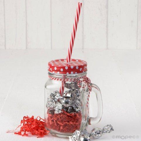 Jar rote Deckel Tupfen und Zuckerrohr 11crocki-choc
