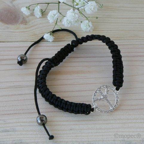 Adjustable peace symbol bracelet