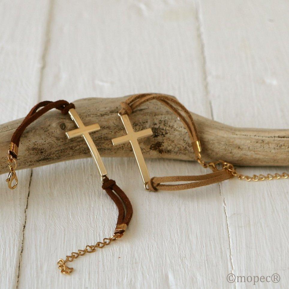 Bracciale croce dorata stda. beige e marrone