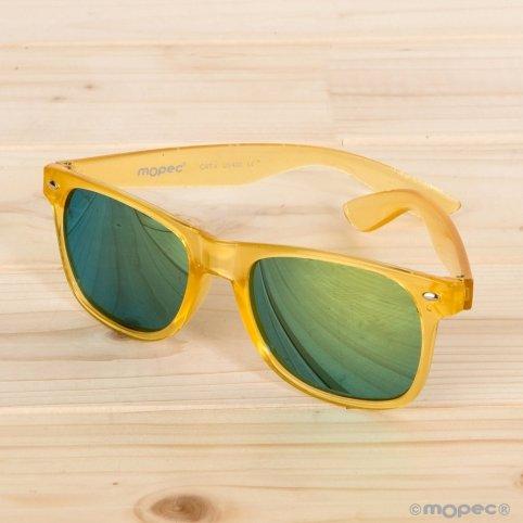 Gelbe halbtransparente Sonnenbrille
