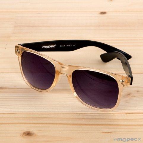 Sonnenbrille schwarze Schläfen lila Linse