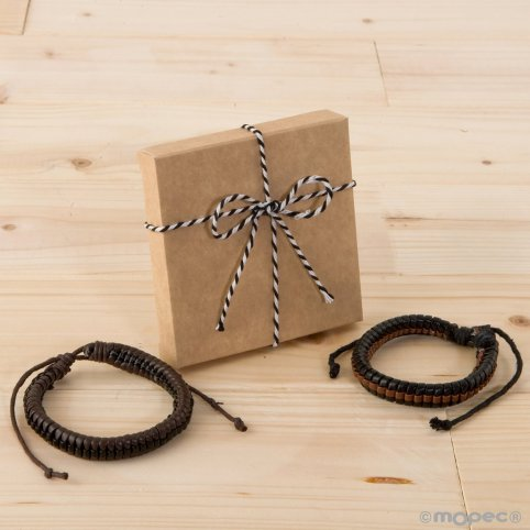 Two-color braided bracelet simil leather ornate case