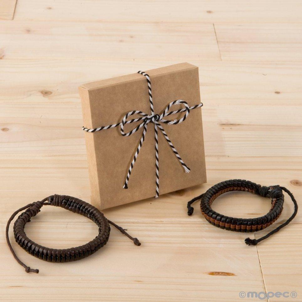 Bracciale intrecciato bicolore in scatola decorata in finta pelle
