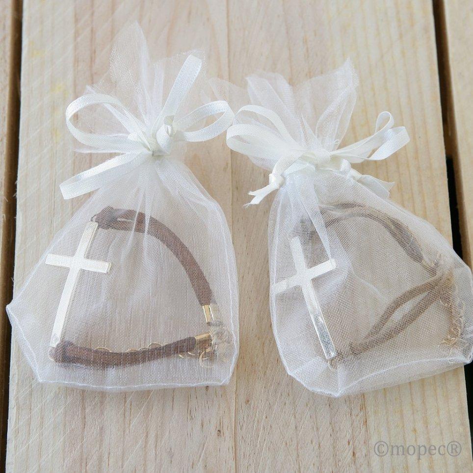 Pulsera cruz en bolsita adornada beige marrón