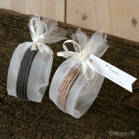 Black and brown strass bracelet adorned
