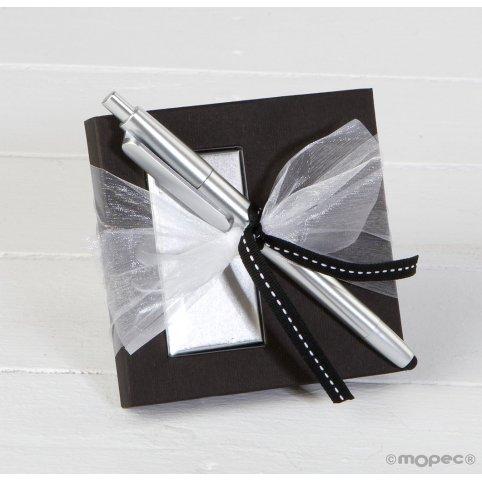 Bolígrafo plata puntero táctil en estuche napolitanas