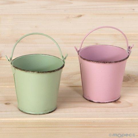 Cubo metálico verde y malva 6x5 cm