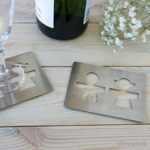 Coasters silhouette boy and girl 11x8 cm