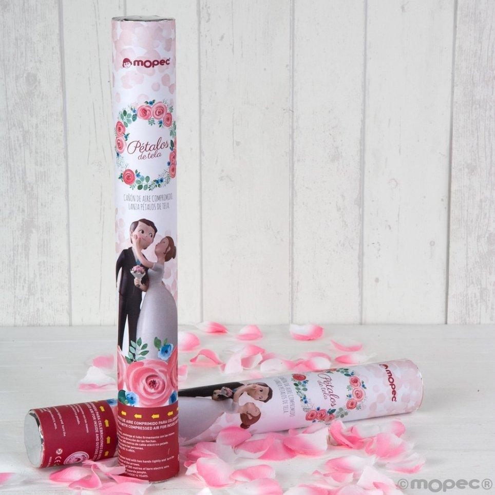 Cañón confeti pétalos rosa 38 cm