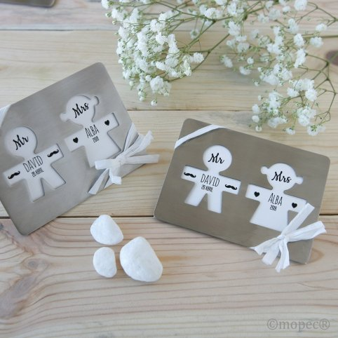 Metal silhouette coasters with ornate card