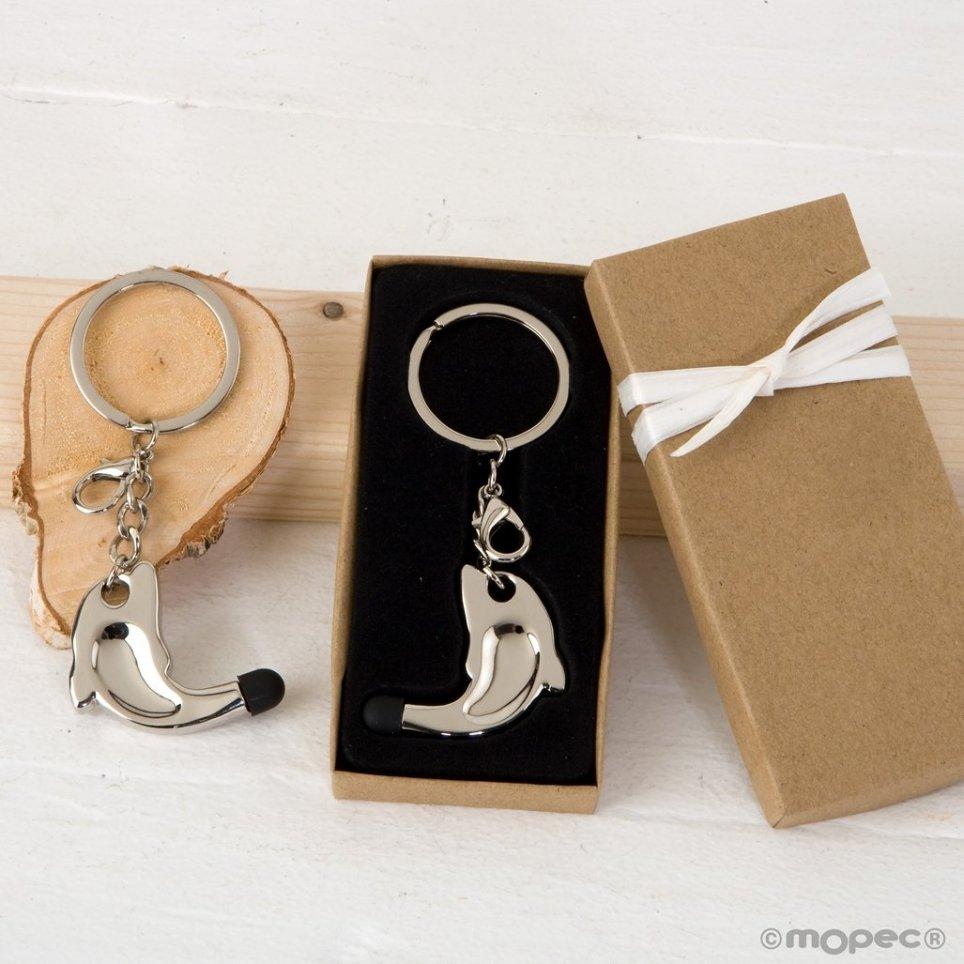 Delphin-Schlüsselbund mit Touch-Zeiger in dekorierter Box