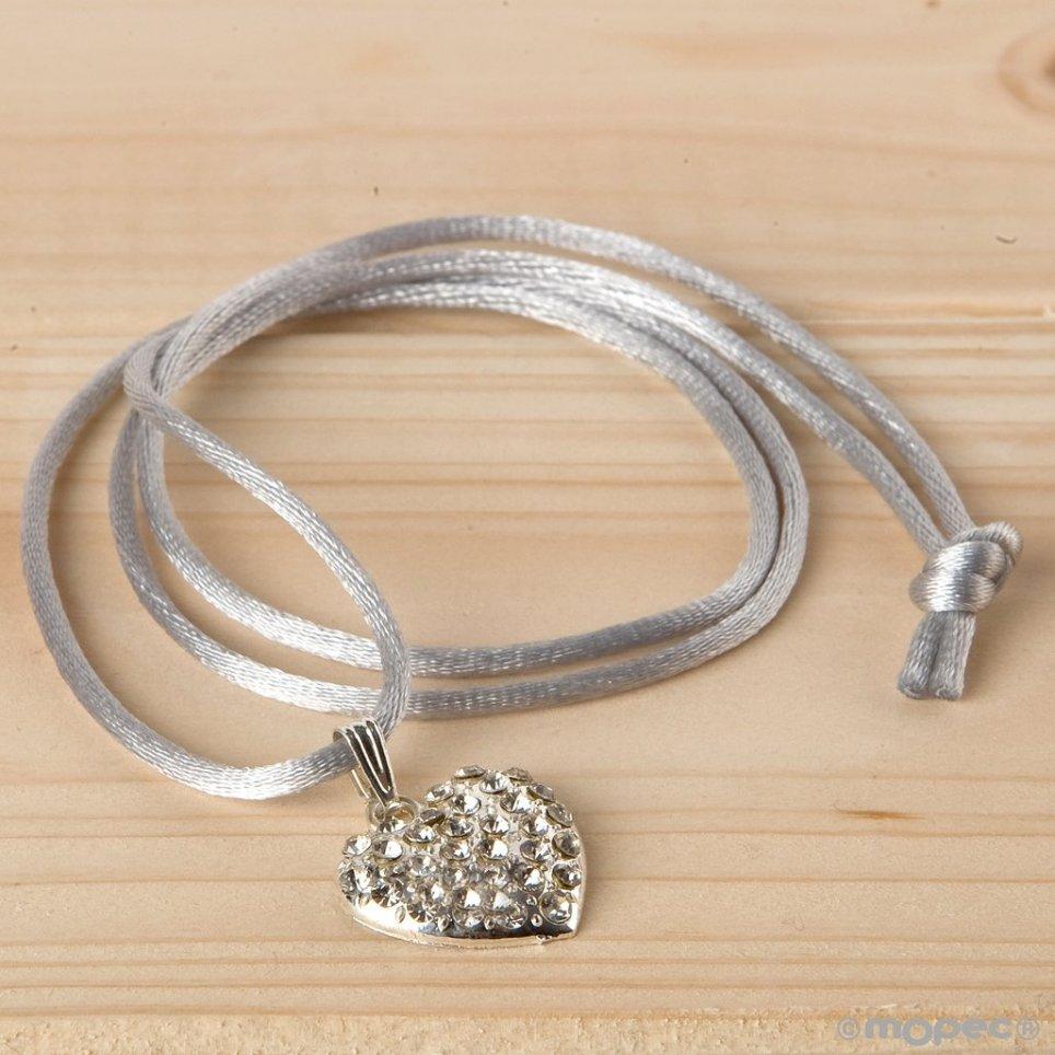 Colgante corazón de strass con cinta gris