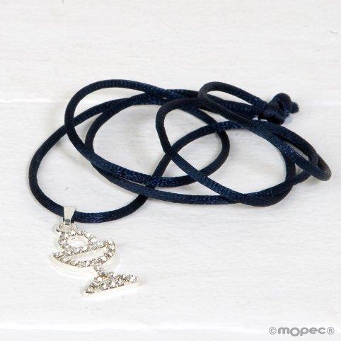 Kelchanhänger aus Strass mit dunkelblauem Band
