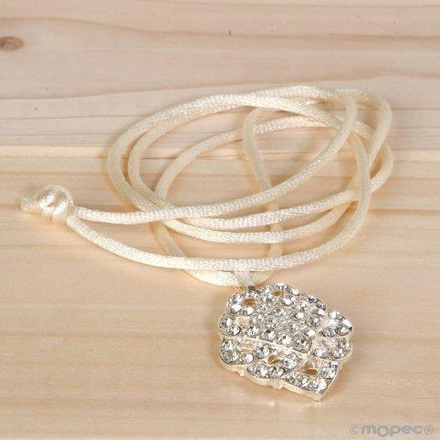 Modernist strass pendant with satin ribbon