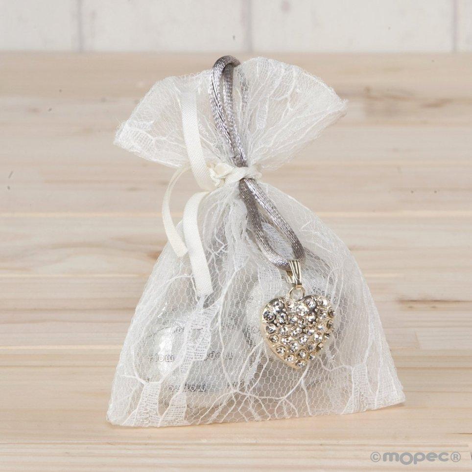 Colgante corazón strass en bolsa de blonda 2 bombones
