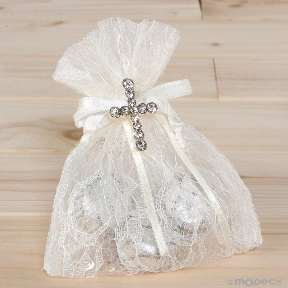 Spilla con strass incrociati in sacchetto di pizzo 3bones