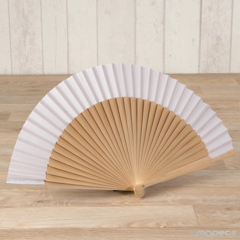 Natural wood fan and 23cm white fabric
