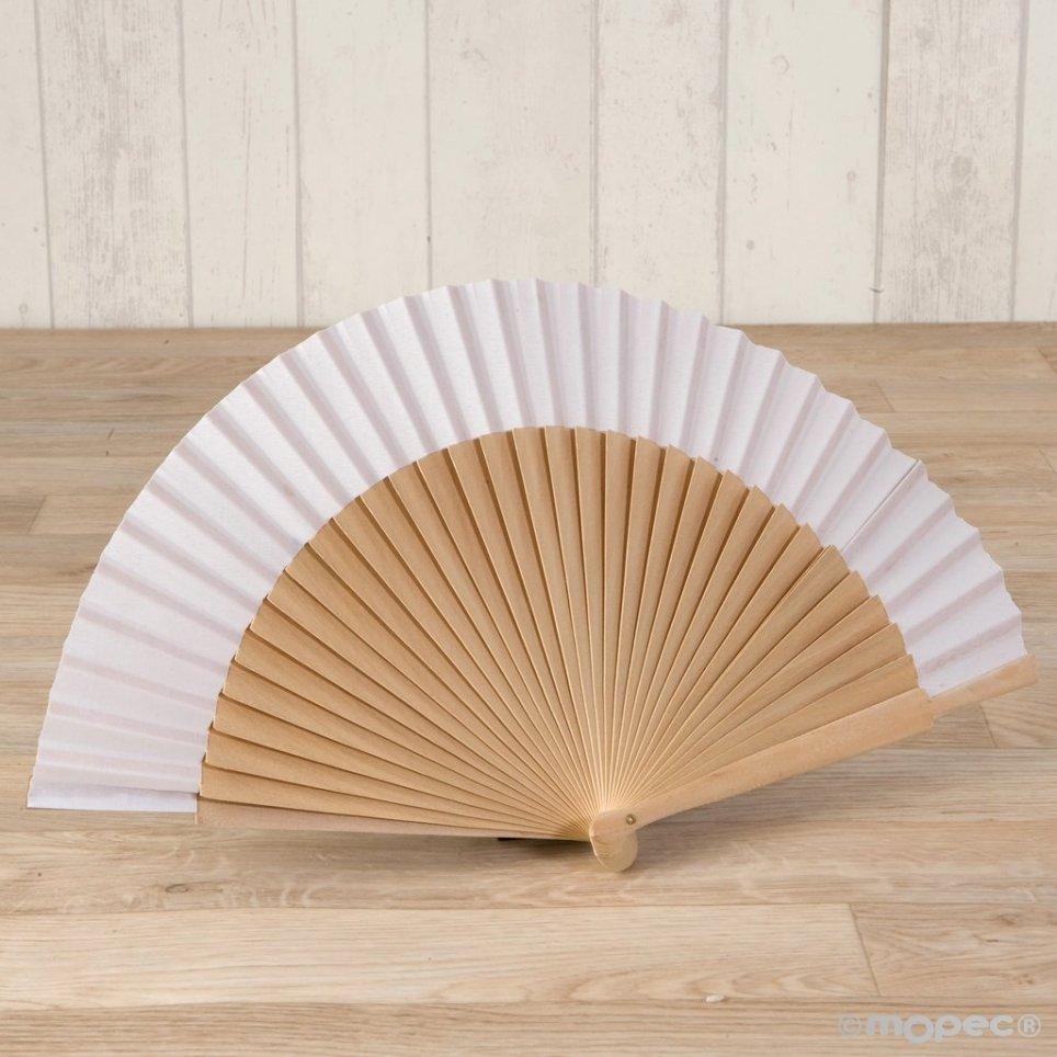 Abanico madera natural y tela blanca 23cm