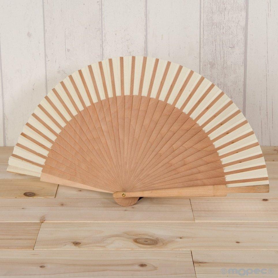 Abanico madera natural y tela marfil 23cm