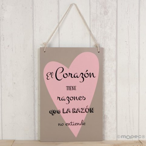 Wooden frame, heart with phrase 20x30cm.