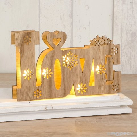 Decoración madera Love con luces led 21x13cm.,2 pilas incluídas